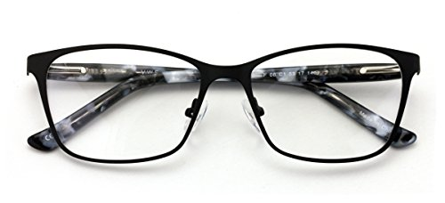 - Stainless Steel Non-prescription Glasses Frame Clear Lens Metal Eyeglasses With Plastic Acetate Temple (Black)