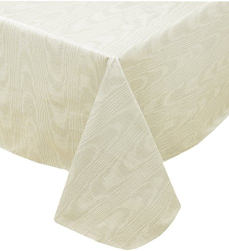 Newbridge Beige Moire Wavy Solid Color Print Heavy Gauge Vinyl Flannel Backed Tablecloth, Indoor/Outdoor Tablecloth, (60 Inch x 84 Inch Oblong/Rectangle) - Print Tablecloth