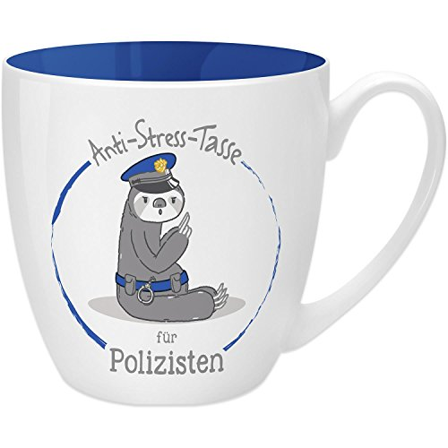GRUSS & CO 45498 Anti Stress 45 cl Gift for Police Officers, Bone China Mug, Blue, 9.5 cm (Best Of Luck Greetings For Exams)
