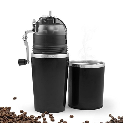 CHULUX Portable Coffee Cup,Manual Burr Coffee Grinder Maker Dripper with Filter,Bonus Carry Bag (Black)