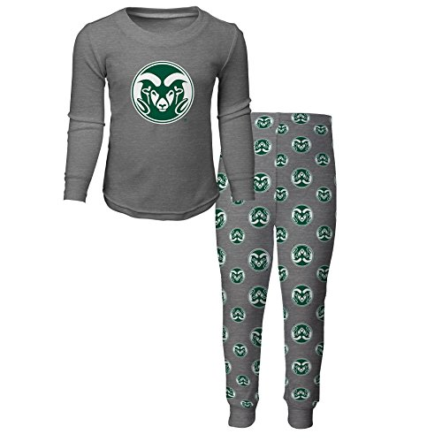 NCAA Colorado State Rams Kids Long Sleeve Tee & Pant Sleep Set, Heather Grey, Kids Medium(5-6)