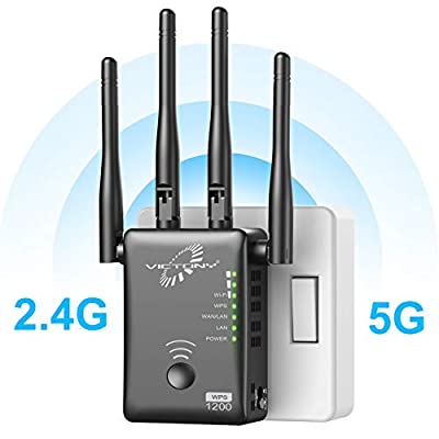 VICTONY WA1200 Wireless Range Extender 1200Mbps WiFi Extneder Dual Band With 4 External Antennas WiFi Signal Booster
