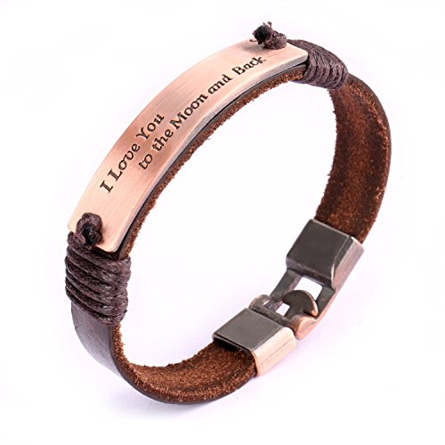 UHIBROS Leather Bracelet, Genuine Leather Wrist Band Cuff I Love You to The Moon and Back Rose Stamped Plate Tag