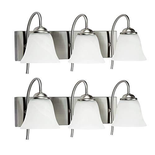 OSTWIN 3-Light Bath Bar Light Up or Down, Interior Bathroom Vanity Wall Lighting Fixture VF41, 3x60 Watt E26 Socket, Satin Nickel Finish with Alabaster Bell Glass Shade (2 Pack) UL Listed