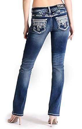 Grace in LA Women's Intricate Aztec Embellished-Detail Knit Bootcut Jeans - Blue - 28