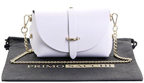 Primo Sacchi Italian Leather Mini Small Micro White Shoulder Cross body Evening Bag With Metal Chain Strap