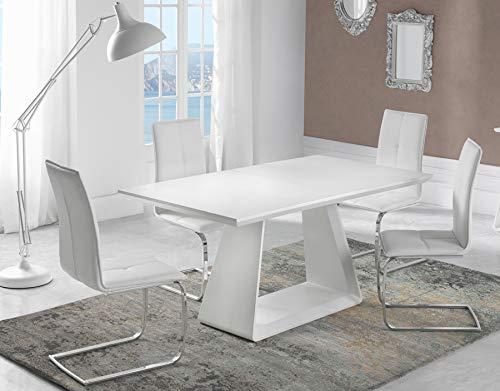Kasalinea - Mesa de Comedor Extensible, Madera lacada Mate, diseño ...