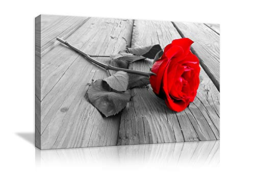 - Black White Red Rose Flower on Grey Wooden Board Modern Home Decorative Painting Canvas Wall Art for Living Room Bedroom Bathroom Stretched and Framed Ready to Hang (28''Hx44''W, Red Rose)