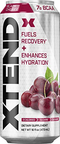Scivation Xtend Carbonated Zero Sugar Hydration & Recovery Drink, Branched Chain Amino Acids, Electrolytes + Performance BCAAs, Black Cherry, 16 Ounce Cans (Pack of 12) (Xtend Bcaa Best Flavor)