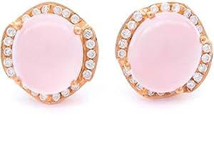 18K Rose Gold 0.24ct Diamond Rose Quartz Rosevella Stud Earrings [B08623]