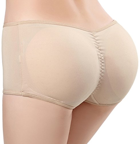 Pelisy Seamless Padded Butt Lifter Panties Hip Enhancer With Removable Pads Womens Boy Shorts  Beige S