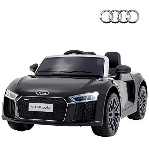 Uenjoy 12V Licensed Audi R8 Ride On Cars Electric Cars Motorized Vehicles for Kids, RC Remote Control, LED Lights, Music, Horn, Safety Doors, Black