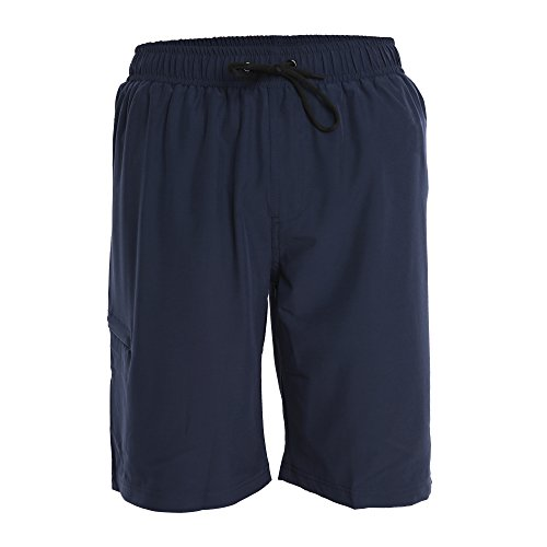 Fort Isle Men's Boardshorts - L - Navy - Perfect Swimsuit, Swim Trunks, Board Shorts, Workout or Athletic Shorts For The Beach, Lifting, Running, Surfing, Pool, Gym. For Adults, Men's - Workout Swimsuits