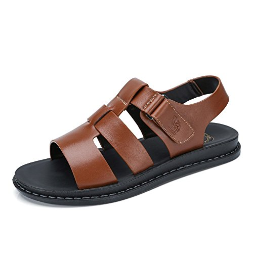 e770cacd38d0 Camel Men s Fisherman Sandals Leather Breathable Close-Toe Sandal Non-Slip  Adjustable Summer Beach