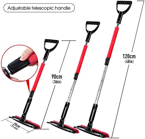 Leadhom 3-in-1 Snow Shovel Set with Gloves, Collapsible Snow Brush with Squeegee and Windshield Snow Brush, Emergency Snow Shovel Set Portable Remover for Truck, Camping, Backyard
