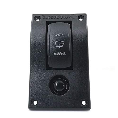 3 Way Bilge Pump Rocker Switch Automatic - Off - Manual Three Positions Panel Control the Pumps with Float, DC 12v 24v with 10A Fuse Circuit Breaker, Auto/Hand-driven with LED Indicator for Boat Ship ()