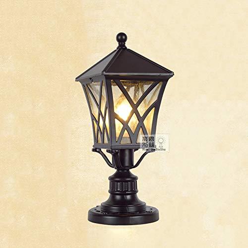 Modenny Brown Traditional Victorian Column Light Post Lantern Classic Garden Landscape Lighting E27 Outdoor Waterproof Pillar Lamp Aluminum Metal Exterior Rainproof Lawn Table Lamp