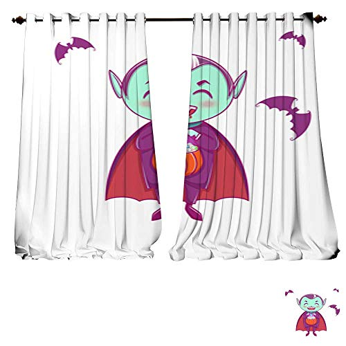 DESPKON-HOME Blackout DraperiesHalloween Little Vampire Dracula Boy Kid