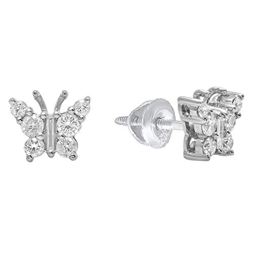 Dazzlingrock Collection 0.48 Carat (ctw) 14K Round & Baguette Cut Diamond Ladies Butterfly Stud Earrings 1/2 CT, White Gold