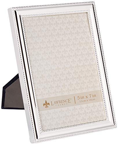 - Lawrence Frames Metal Picture Frame Silver-Plate with Delicate Beading, 5 by 7-Inch