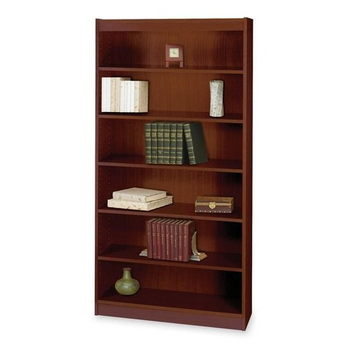 Safco Products 1505MHC Square-Edge Bookcase, 6 Shelf, Mahogany -