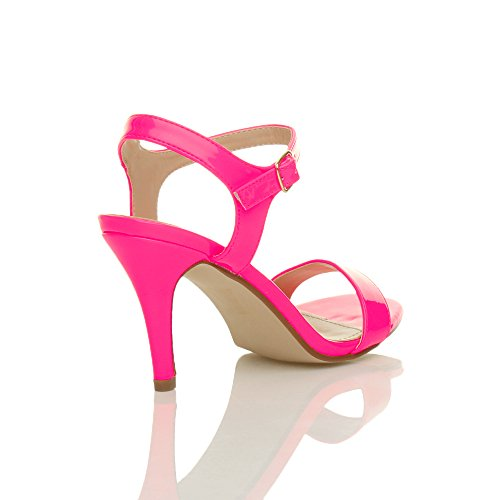 Women High Fuchsia Shoes Ajvani Heel Neon Size Pink Barely Patent Sandals There q5wSdz