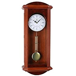 Verona Beautiful Wood Pendulum Wall Clock with Glass Front - Elegant & decorative wood clock with stunning red finish – 26.75 x 11.5 x 4.5 inch – Quartz movement, battery operated & quiet