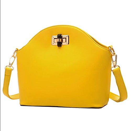 GSPStyle Damen Kunstleder Schultertasche Drehenverschluss Handtaschen Cross Body Umhängetasche Farbe Gelb