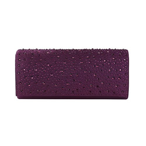 Colors Diff Purple Satin Avail Elegant Evening Flap Crystal Clutch Bag UYxCnz