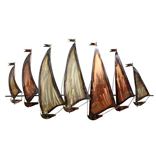 Stratton Home Decor S07745 Sunset Sailboat Wall Decor, Gold