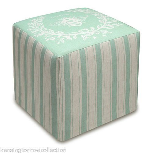 OTTOMANS - NAPOLEONIC BEE UPHOLSTERED OTTOMAN - AQUA BLUE LINEN COVER - POUF by KensingtonRow Home Collection