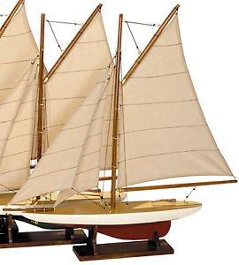 Pond Mini Yacht - Decorative Mini Pond Yachts Wooden Sailboat Models Set Of 4