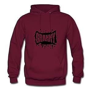 Sarahdiaz X-large Elegent Burgundy Sweatshirts - Cool Granny Graffiti Logo Printed,women