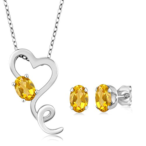 Citrine Earring Pendant - Sterling Silver Citrine Heart Shape Pendant Earrings Set (1.85 cttw, With 18 Inch Silver Chain)