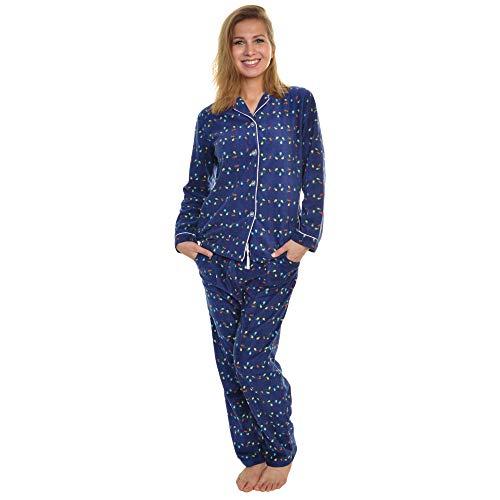- Angelina Women's Cozy Fleece Pajama Set, Christmas Lights, X-Large