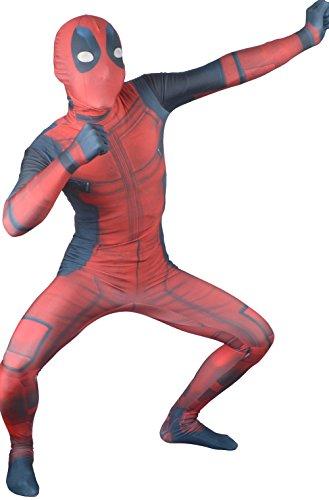 Seeksmile Unisex Lycra Spandex Zentai Halloween Cosplay Costumes Deadpool (Medium, Kids 3D) (Adult Deadpool Costume)