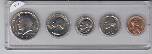 1971 Birth Year Coin Set (5) Coins -UNCIRCULATED- FROM A US MINT SET- Half Dollar, Quarter, Dime, Nickel, and Cent Displayed in a Plastic Holder Uncirculated ()
