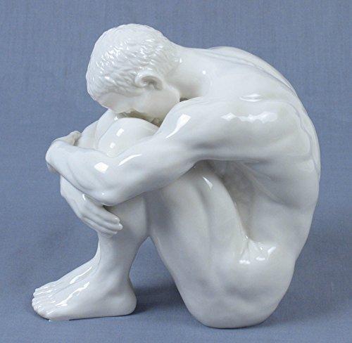 6 Inch All White Porcelain Sad Thinking Nude Male Figurine, Glazed