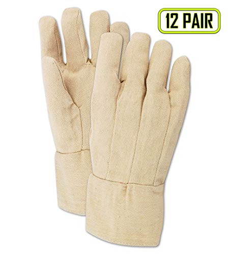 (Magid Glove & Safety T89BT-AMZN MultiMaster T89BT Canvas Gloves with Band Top Cuff, 8 oz, Cotton Poly Blend, Men's (Fits Large), Natural (Pack of 12))