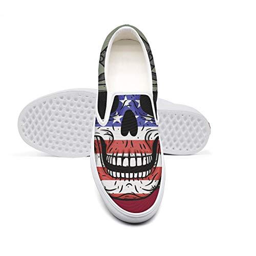 KJGDFS Soldier Skull American Flag Skateboard Shoes Printed Slip on for - Shoes American Soldier