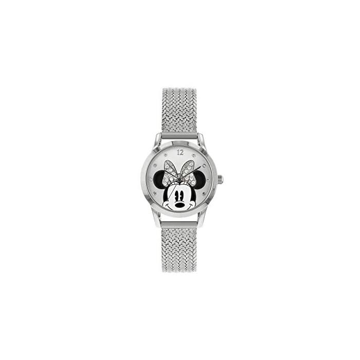 41%2BAWphKEtL Reloj de Minnie Mouse para adultos Esfera de 30 mm Correa de malla de metal plateado