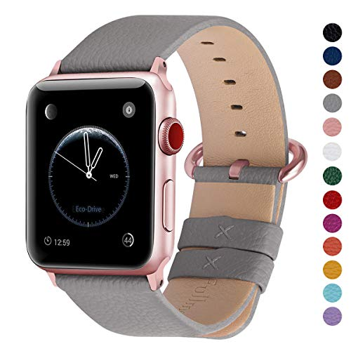 Fullmosa Compatible Watch Band 38mm 40mm 42mm 44mm, Genuine Leather Band Compatible Watch Series 4, Series 3, Series 2, Series 1, 38mm 40mm Grey + Rose Gold Buckle