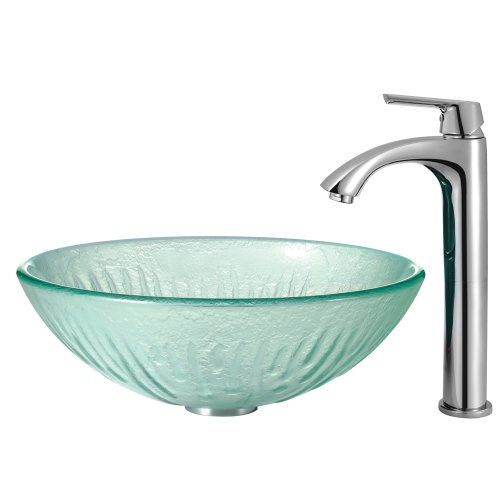 VIGO Icicles Glass Vessel Bathroom Sink and Linus Vessel Faucet with Pop Up, Chrome by Vigo (Image #1)