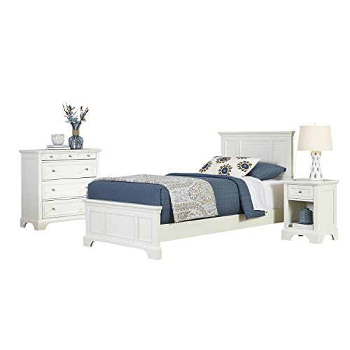 Home Styles 5530-4021 Naples Twin Bed, Night Stand and Chest, White by Home Styles