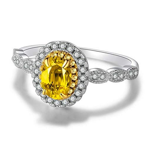 Tomikko 3ct Oval Cut Yellow Topaz White CZ Band Womens 925 Silver Wedding Ring Sz 4-9.5 | Model RNG - 25530 | 6,5