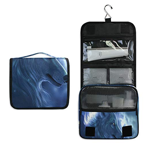 2 Amy Butler Fabric - Travel Hanging Toiletry Bag Galaxy Wolf (2) Cosmetic, Makeup and Toiletries Organizer | Compact Bathroom Storage | Home, Gym, Airplane, Hotel, Car Use