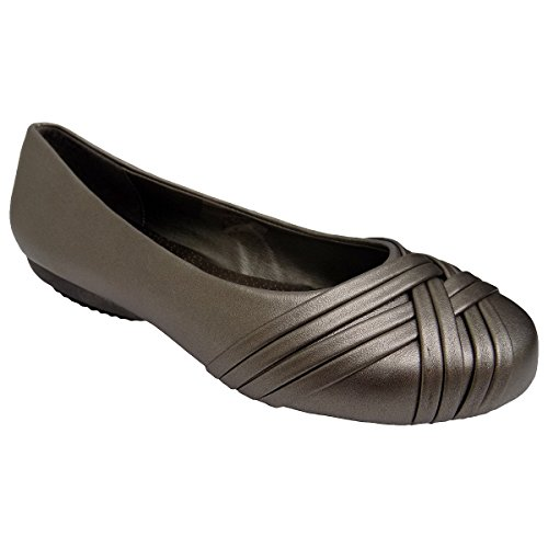 Spicy Womens F042 Pewter Metallic Slip On Ballet Flats Shoes Pewter/Silver xSoJp3