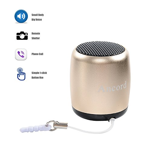 Ancord Small Portable Bluetooth Speaker with Shutter Button and Selfie  Features (Gold)