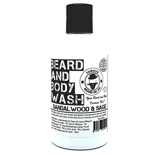 Best Beard Wash for Men - Soothing Natural Beard Wash - 100% Organic - Sandalwood & Sage - By The Famous Beard Oil Company (8oz)