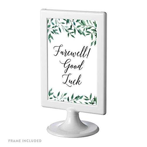 - Andaz Press Framed Retirement Party Signs, Natural Greenery Green Leaves, 4x6-inch, Farewell! Good Luck!, 1-Pack, Includes Reusable Photo Frame